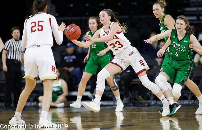 SIOUX FALLS, SD - MARCH 10: Madison Nelson #23 from Denver passes to teammate Sydney Mech #25 from Denver at the 2019 Summit League Basketball Tournament at the Denny Sanford Premier Center in Sioux Falls. (Photo by Dick Carlson/Inertia)