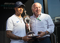 LEWIS HAMILTON (GBR) of Mercedes-AMG Petronas Motorsport and Dave Richards during The Formula 1 2018 Rolex British Grand Prix at Silverstone Circuit, Northampton, England on 8 July 2018. Photo by Vince  Mignott.