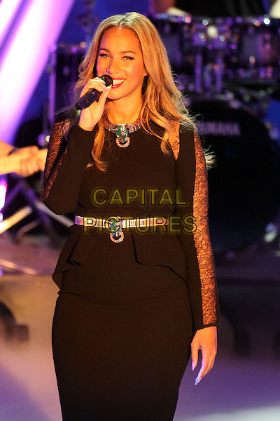 "Leona Lewis.Germany's biggest live TV-show ""Wetten Dass"", Offenburg, Germany..January 19th, 2013.half length black dress lace peplum gold belt on stage in concert live gig performance performing music singing .CAP/UNT.©Unit2/Capital Pictures"