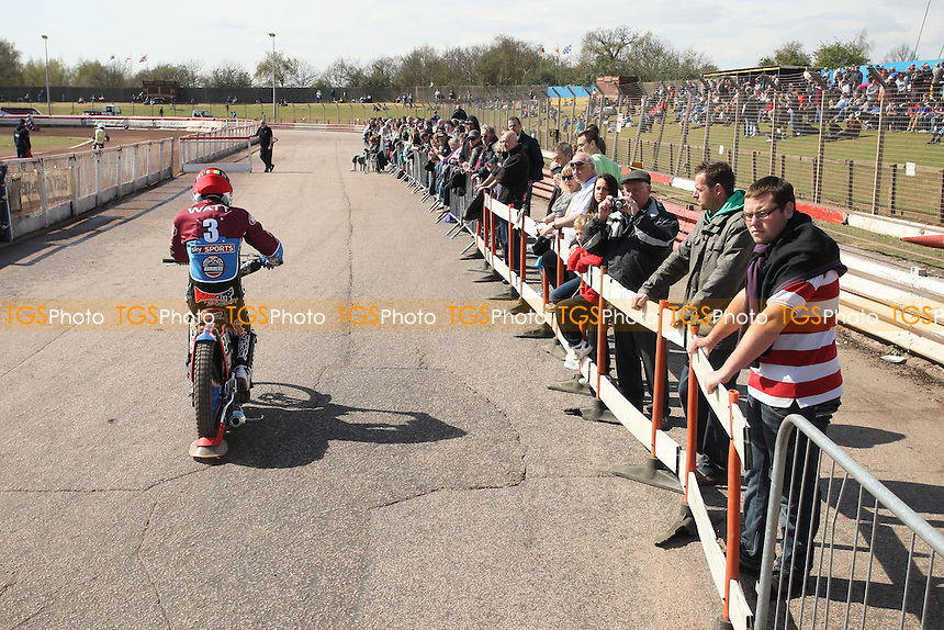 A bumper Bank Holiday crowd at Arena Essex watches Davey Watt head out to race - Lakeside Hammers vs Eastbourne Eagles - Sky Sports Elite League Speedway at Arena Essex Raceway, Purfleet - 06/04/12 - MANDATORY CREDIT: Gavin Ellis/TGSPHOTO - Self billing applies where appropriate - 0845 094 6026 - contact@tgsphoto.co.uk - NO UNPAID USE.