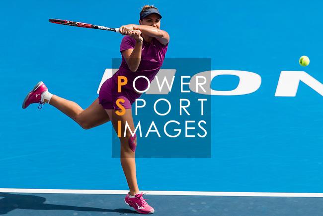 Kristina Kucova of Slovakia competes against Dayana Yastremska of Ukraine during the singles quarter final match at the WTA Prudential Hong Kong Tennis Open 2018 at the Victoria Park Tennis Stadium on 12 October 2018 in Hong Kong, Hong Kong.