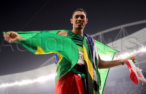 14.08.2016. Rio de Janeiro, Brazil. Wayde van Niekerk of South Africa celebrates after winning with a world record the Men's 400m Final of the Athletic, Track and Field events during the Rio 2016 Olympic Games at Olympic Stadium in Rio de Janeiro, Brazil, 14 August 2016.