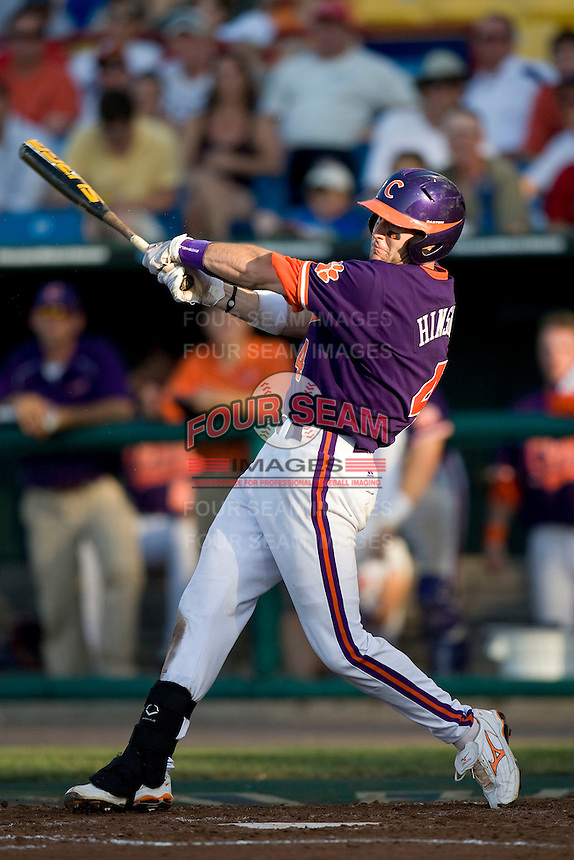 Clemson 3B John Hinson in Game 14 of the NCAA Division One Men's College World Series on June 26th, 2010 at Johnny Rosenblatt Stadium in Omaha, Nebraska.  (Photo by Andrew Woolley / Four Seam Images)