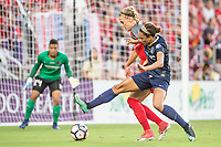 Orlando, FL - Saturday October 14, 2017: Dagný Brynjarsdóttir, Lynn Williams during the NWSL Championship match between the North Carolina Courage and the Portland Thorns FC at Orlando City Stadium.