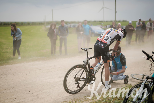 Kim Magnusson (SWE/Riwal Readynez) was in the breakaway group and was temporarely halted by a flat tire while racing over the Breton gravel roads<br /> <br /> 36th TRO BRO LEON 2019 (FRA)<br /> One day race from Plouguerneau to Lannilis (205km)<br /> <br /> ©kramon