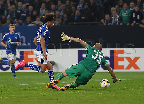 22.10.2015. Gelsenkirchen, Germany. UEFA Europa League football. FC Schalke versus Sparta Prague.  Leroy Sane (Schalke 04)gets around keeper David Bicik (Sparta Prag)and scores for 2:2