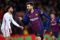 BARCELONA, 30-01-2019. Copa el Rey 2018/ 2019, round of 8 first leg. Barcelona-Sevilla. Lionel Messi of FC Barcelona celebrates his goal (6-1)  during the game Barcelona 6-1 Sevilla <br /> Foto Pressinphoto/Proshots/Insidefoto