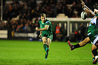 Jack Carty of Connacht kicks a drop goal during the Guinness Pro14 match between the Ospreys and Connacht Rugby at Morganstone Brewery Field in Bridgend, Wales, UK. Friday 26 October 2018