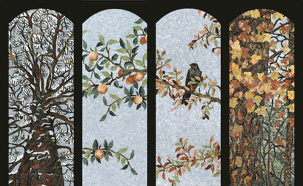 Custom 15 x 41 inch Four Seasons panels in 1.0cm polished marble tesserae by New Ravenna.<br />