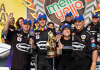 Jul. 28, 2013; Sonoma, CA, USA: NHRA pro stock driver Vincent Nobile celebrates with crew after winning the Sonoma Nationals at Sonoma Raceway. Mandatory Credit: Mark J. Rebilas-