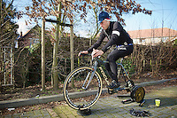 Jeremy Powers (USA) warming up<br /> <br /> 2014 UCI cyclo-cross World Championships, Elite Men