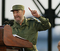 Cuban President Fidel Castro gestures during  a speech Friday May 20,2005 in Havana, Cuba. Castro revealed that  he asked to Colombian writer Gabriel Garcia Marquez to help in a negotiation  with former US President Bill Clinton  to coordinate  anti-terrorist measures. Credit: Jorge Rey/MediaPunch