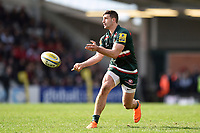 Jonny May of Leicester Tigers passes the ball. Aviva Premiership match, between Leicester Tigers and Northampton Saints on April 14, 2018 at Welford Road in Leicester, England. Photo by: Patrick Khachfe / JMP