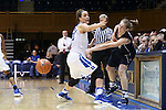 13 November 2016: Penn's Lauren Whitlatch (right) inbounds the ball past Duke's Rebecca Greenwell (23). The Duke University Blue Devils hosted the University of Pennsylvania Quakers at Cameron Indoor Stadium in Durham, North Carolina in a 2016-17 NCAA Division I Women's Basketball game. Duke defeated Penn 68-55.