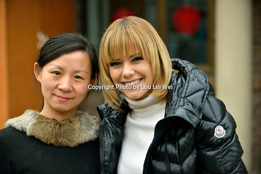 "Swiss singer and TV presenter Francine Jordi visiting ""SOS Kinderdorf"" in Tianjin, China. With MOTHER Li Jiao. 22-Mar-2016"