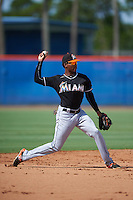 GCL Marlins shortstop Garvis Lara (3) throws to first during the first game of a doubleheader against the GCL Mets on July 24, 2015 at the St. Lucie Sports Complex in St. Lucie, Florida.  GCL Marlins defeated the GCL Mets 5-4.  (Mike Janes/Four Seam Images)