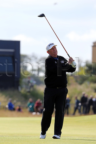 15.07.2015. The Old Course, St Andrews, Fife, Scotland.  Mark Calcavecchia of the United States tees off during a practice round of the 144th British Open Championship at the Old Course, St Andrews in Fife, Scotland.