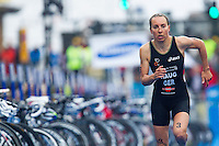 26 AUG 2012 - STOCKHOLM, SWE - Anne Haug (GER) of Germany  heads through transition for the start of her run leg during the 2012 ITU Mixed Relay Triathlon World Championships in Gamla Stan, Stockholm, Sweden (PHOTO (C) 2012 NIGEL FARROW)