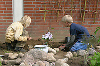 Fassadenbegrünung im Schulgarten, Begrünung einer Fassade, Garten der Grundschule Nusse wird als Projektarbeit von einer 1. Klasse gestaltet, Kinder pflanzen Rankpflanzen an selbstgebaute Kletterhilfen, blühende Clematis wird eingepflanzt, Gartenarbeit