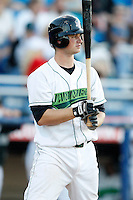 June 23, 2009:  Catcher Robert Taylor of the Jamestown Jammers at bat during a game at Russell Diethrick Park in Jamestown, NY.  The Jammers are the NY-Penn League Short-Season Class-A affiliate of the Florida Marlins.  Photo by:  Mike Janes/Four Seam Images