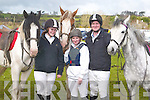 GREAT: Amanda and Craig McSweeney(Killarney) and Louise Moroney(Listowel) having a great day at the Equestrian Cross Country Competition on Joe Arthurs land, Kielduff on Sunday to raise funds for O Brennan's National School.HELPING: Erica Tynan and Allanah Bradley (Ballymacelligott) helping Roan Hegarty (Castlemaine) in getting his pony ready for the Equestrian Cross Country on Joe Arthurs land, to raise funds for O Brennans national School, on Sunday. .PONY: Getting their pony ready for the Equestrian Cross Country on Joe Arthurs land to raise funds for O Brenna?ns National School, on Sunday they were: Aoife McSweeney and Roisin Clifford(Faha),Sasha Edwards (Castlemaine),Zoe O'Dwyer- Kelly (Headford),Nessa Fitzmaurice (Moyvane),Helena O'Connor (Castleisland) and Cathy O'Connor(Athea). .FAMILY: The Mulvihill family from listowel at the Equestrian Cross Country competition on Joe Arthurs Land, Kielduff to raise funds for O Brenna?n's National School on Sunday.Edel,Jacinta,Mary and Anthony. .Champion Dog of the Frightful Flash Kennells/K.G.O.B.A Sweep Final with his owney who were presented with the Sweep Final Trophy by Dick O'Sullivan on Saturday night. l-r: Denis and Marie Sheehan,Declan Dowling,Maurice Hartnett, Dick O'Sullivan, Marie and Brendan Hartnett. .What a win by Kielduff Lady No 6 in the Frightful Flash Kennells/K.G.O.B.A Sweep Final at the Kingdom Greyhound Stadium, Tralee on Saturday night. .RACES: Having a great night at the Kingdom Greyhound Stadium, Tralee on Saturday night. Front l-r: Sarah Cooper,Clo?dagh Foley and Shauna O'Sullivan, back l-r: Tracey Hurley,Carol Hurley and Jonna Foley.Celine, daughter of Rita and Paddy O'Riordan, Coolnahane, kanturk and Tim, son of Sheila and Con Lehane, Aubone, Milstreet, who were married on Saturday at St patrick's Church, Milstreet by Fr Gerard O'Leary. Best man was John Lehane brother of the groom, and groomsmen were Gerard O'Riordan and Patrick O'callaghan. Bridesmaids were Emma O'Riordan sister of the bride,