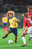 Carlos Valderrama of Columbia in action vs England in Lens France during World Cup France 98.