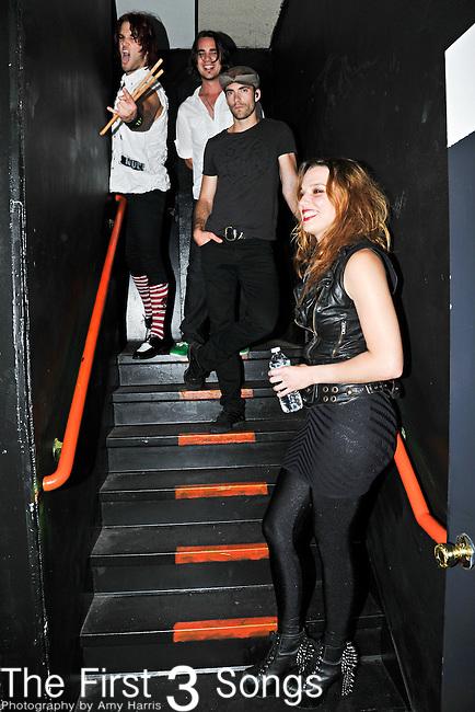 Arejay Hale, Joe Hottinger, Josh Smith, and Lzzy Hale of Halestorm perform at Bogarts in Cincinnati, Ohio.