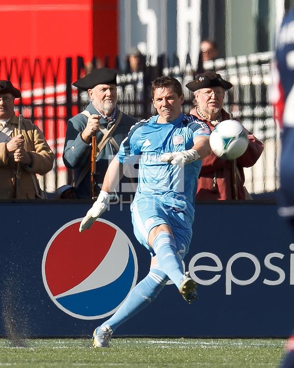 New England Revolution goalkeeper Bobby Shuttleworth (22)..  In a Major League Soccer (MLS) match, FC Dallas (red) defeated the New England Revolution (blue), 1-0, at Gillette Stadium on March 30, 2013.