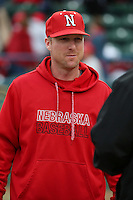 Nebraska Cornhuskers Head Coach Darin Erstad (17) talks to the umpires before a game against the Long Beach State Dirtbags in the second game of a doubleheader at Blair Field on March 5, 2016 in Long Beach, California. Long Beach State defeated Nebraska, 3-1. (Larry Goren/Four Seam Images)