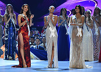 BANGKOK, THAILAND - DECEMBER 17: 2018 MISS UNIVERSE: Miss Venezuela Sthefany Gutierrez, Miss South Africa Tamaryn Green and Miss Philippines Catriona Gray onstage on the 2018 MISS UNIVERSE competition at the Impact Arena in Bangkok, Thailand on December 17, 2018. (Photo by Frank Micelotta/FOX/PictureGroup)