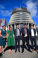 From left, MPs Louisa Wall, Jan Logie, James Shaw, Grant Robertson and Chris Bishop. Semi-automatic weapons ban and firearms advertising regulation petitions at Parliament in Wellington, New Zealand on Thursday, 21 March 2019. Photo: Dave Lintott / lintottphoto.co.nz