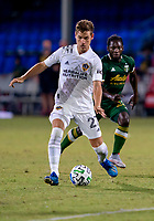 13th July 2020, Orlando, Florida, USA;  Los Angeles Galaxy midfielder Emil Cuello (27) passes the ball during the MLS Is Back Tournament between the LA Galaxy versus Portland Timbers on July 13, 2020 at the ESPN Wide World of Sports, Orlando FL.