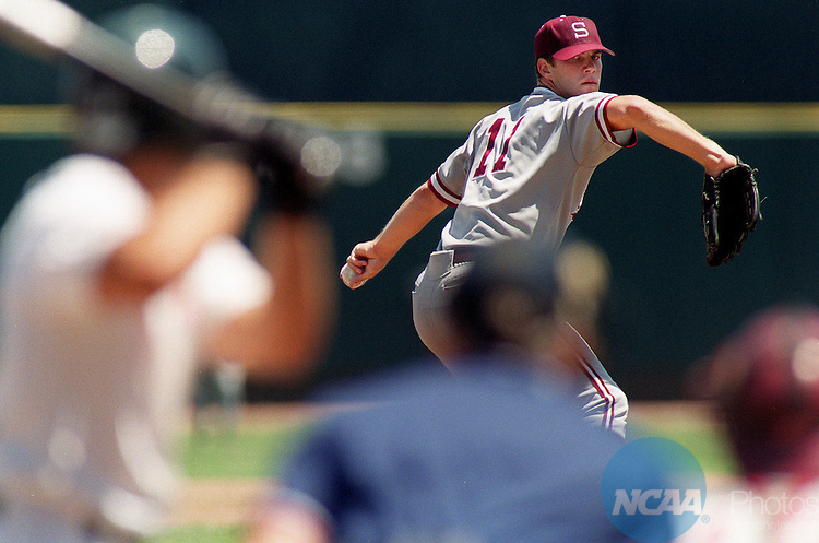 16 JUNE 2001:  Mike Gosling (11) of Stanford University pitches during the first inning against the University of Miami during the Division 1 Men's College World Series held at Rosenblatt Stadium in Omaha, NE.   Miami defeated Stanford 12-1 for the national championship title.  Jamie Schwaberow/NCAA Photos