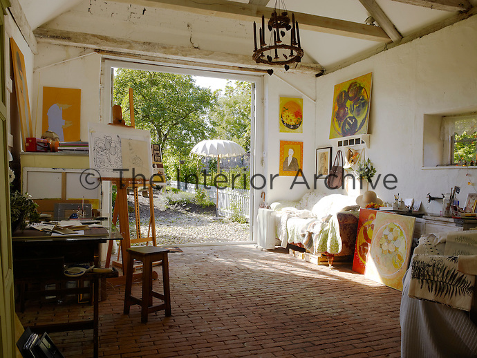 Sheila Scholes' large and airy studio is situated in an outbuilding in the grounds of the house