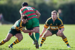 Sosefo Kata charges into the tackle of Armyn Sanders. Counties Manukau Premier Club Rugby game between Pukekohe and Waiuku played at Colin Lawrie Fields, Pukekohe, on Saturday July 3rd 2010. Pukekohe won 31 - 12 after leading 15 - 9 at halftime.