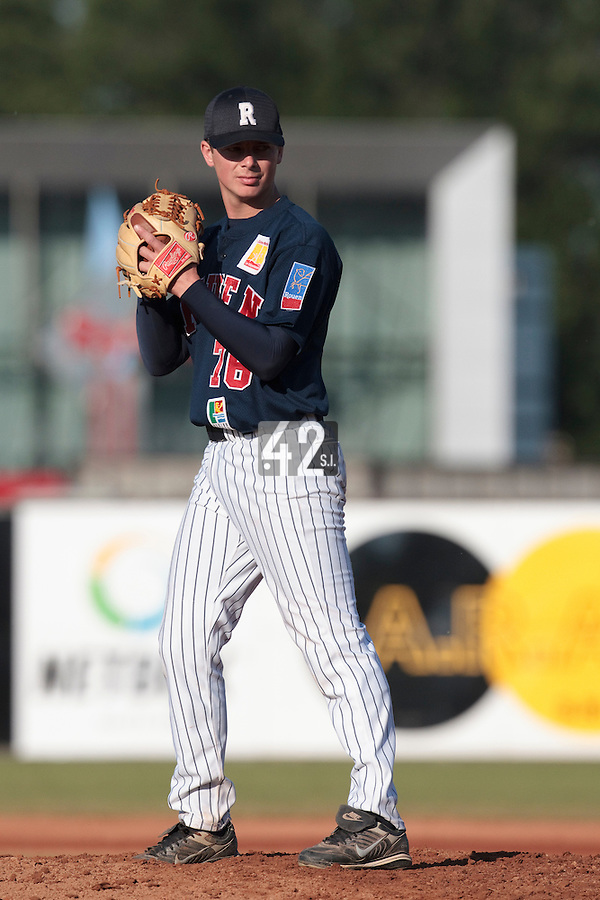 06 June 2010: Anthony Piquet of Rouen pitches against AVG Draci Brno during the 2010 Baseball European Cup match won 10-8 by the Rouen Huskies over AVG Draci Brno, at the AVG Arena, in Brno, Czech Republic.