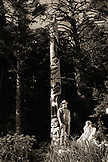 USA, Alaska, Sitka, Tommy Joseph a Tinglit totem pole carver stands in front of one of his carvings, Halibut Cove, Sitka Sound