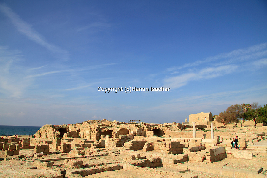 Israel, Sharon region, archaelogical remains in Caesarea