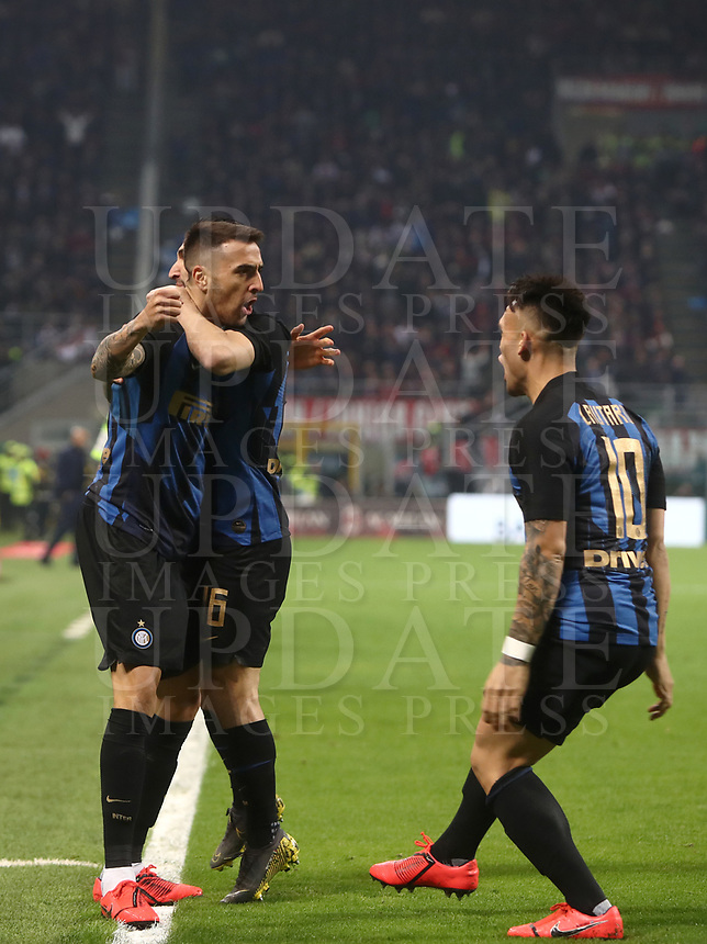 Calcio, Serie A: AC Milan - Inter Milan, Giuseppe Meazza (San Siro) stadium, Milan on 17 March 2019.  <br /> Inter's Matias Vecino (l) celebrates after scoring with his teammates Matteo Poitano (c) and Lautaro Martinez (r) during the Italian Serie A football match between Milan and Inter Milan at Giuseppe Meazza stadium, on 17 March 2019. <br /> UPDATE IMAGES PRESS/Isabella Bonotto
