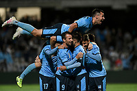 17th November 2019; Jubilee Oval, Sydney, New South Wales, Australia; A League Football, Sydney Football Club versus Melbourne Victory; Kosta Barbarouses of Sydney is congratulated by teammates after scoring a goal to make it 2-1 as Ryan McGowan of Sydney flies high in the 68th minute