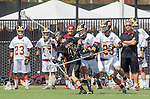Orange, CA 05/17/14 - Mitch Erickson (Colorado #46) and Brian Braasch (Arizona State #29) in action during the 2014 MCLA Division I Men's Lacrosse Championship game between Arizona State and Colorado at Chapman University in Orange, California.  Colorado defeated Arizona State 13-12.