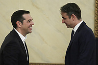 Pictured L-R: Greek Prime Minister Alexis Tsipras greets New Democracy party leader Kyriakos Mitsotakis during the official state dinner at the Presidential Mansion in Athens, Greece. Wednesday 09 May 2018 <br /> Re: Official visit of HRH Prnce Charles and his wife the Duchess of Cornwall to Athens, Greece.