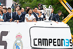 Real Madrid Cristiano Ronaldo, Marcelo and Keylor Navas during the celebration of the Thirteen Champions League at Cibeles Fountain in Madrid, Spain. May 27, 2018. (ALTERPHOTOS/Borja B.Hojas)