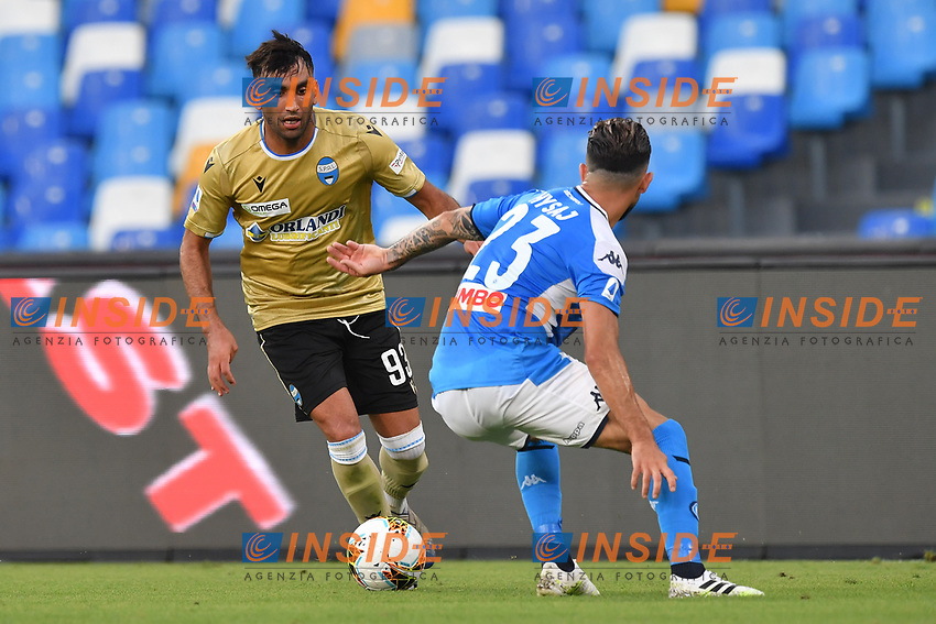 Mohamed Fares of SPAL vies for the ball with Elseid Hysaj of SSC Napoli during the Serie A football match between SSC Napoli and SPAL at stadio San Paolo in Naples ( Italy ), June 28th, 2020. Play resumes behind closed doors following the outbreak of the coronavirus disease. <br /> Photo Carmelo Imbesi / Insidefoto