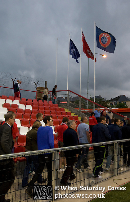 Crusaders 1 Fulham 3, 16/07/2011. Seaview Park, Europa League 2nd qualifying round first leg. Crusaders supporters leaving ground at the end of their team's match with Fulham in a UEFA Europa League 2nd qualifying round, first leg match at Seaview, Belfast. The visitors from England won by 3 goals to 1 before a crowd of 3011. Photo by Colin McPherson.