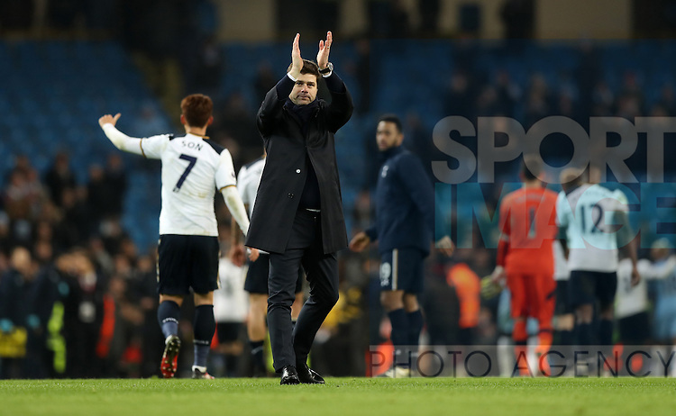 Tottenham Hotspur manager Mauricio Pochettino celebrates after the Premier League match at Etihad Stadium, Manchester. Picture date: January 21st, 2017.Photo credit should read: Lynne Cameron/Sportimage
