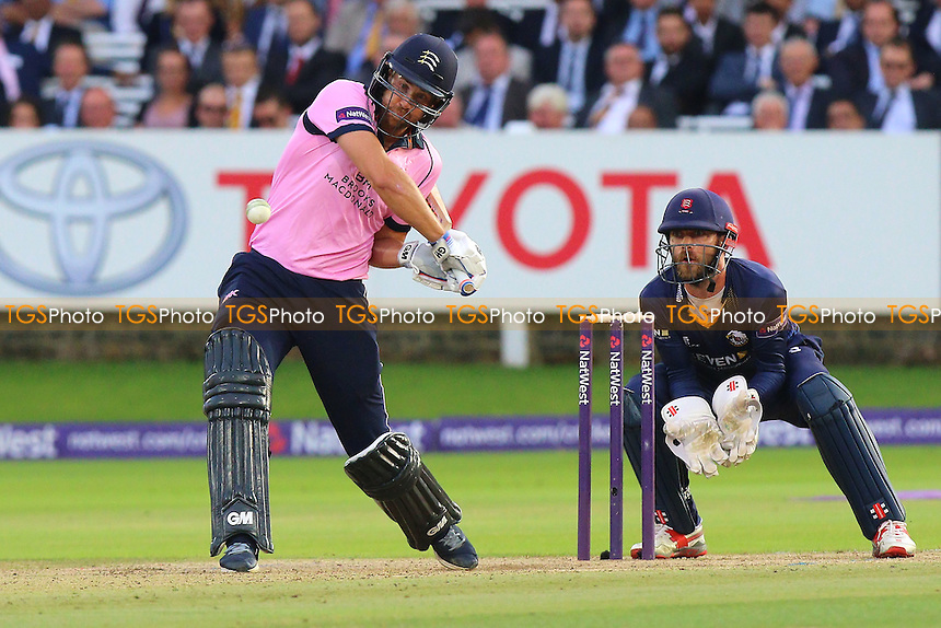 Dawid Malan in batting action for Middlesex as James Foster looks on from behind the stumps during Middlesex vs Essex Eagles, NatWest T20 Blast Cricket at Lord's Cricket Ground on 28th July 2016