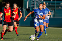 Rochester, NY - Friday June 24, 2016: Elizabeth Eddy, Kyah Simon during a regular season National Women's Soccer League (NWSL) match between the Western New York Flash and the Boston Breakers at Rochester Rhinos Stadium.