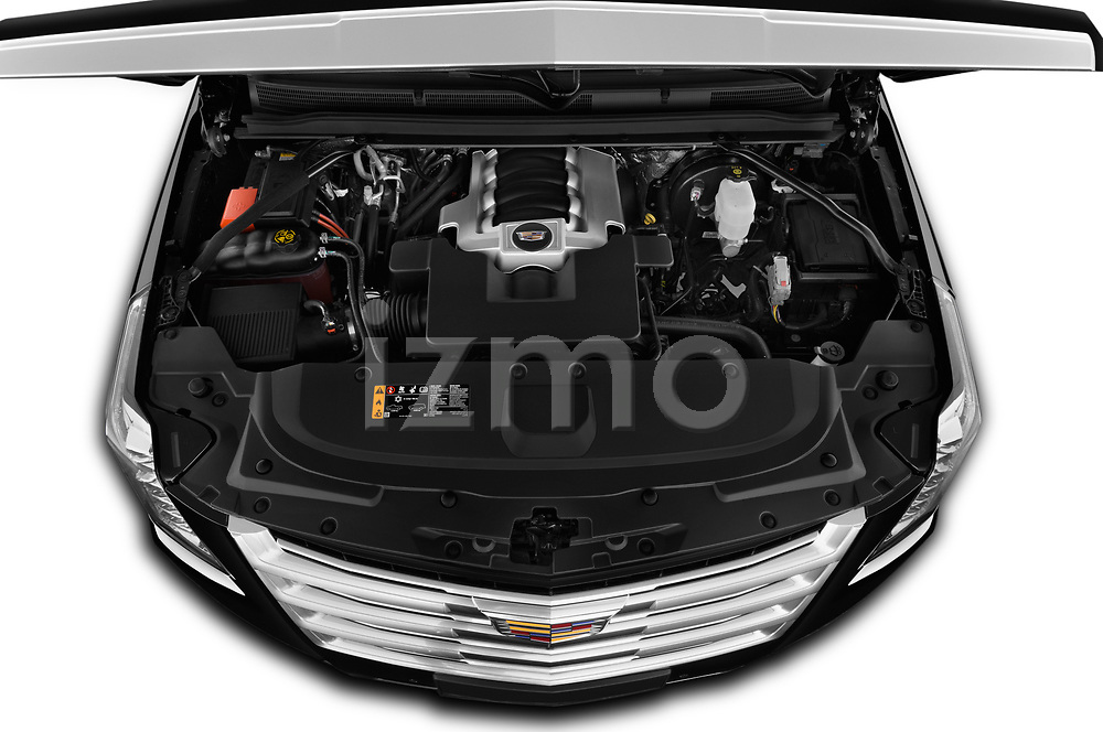 Car Stock 2019 Cadillac Escalade Platinum 5 Door SUV Engine  high angle detail view