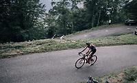 Greg Van Avermaet (BEL/BMC) up the Mur de Péguère (Cat1/1375m/9.3km/7.9%)<br /> <br /> 104th Tour de France 2017<br /> Stage 13 - Saint-Girons › Foix (100km)